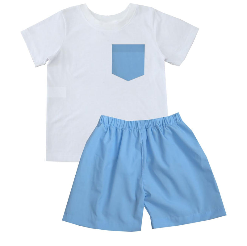 2020 Spring Blue Tshirt Short Set