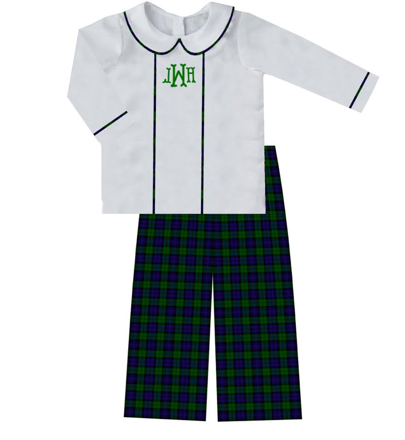 2020 Green Christmas Plaid Boy Pant Set