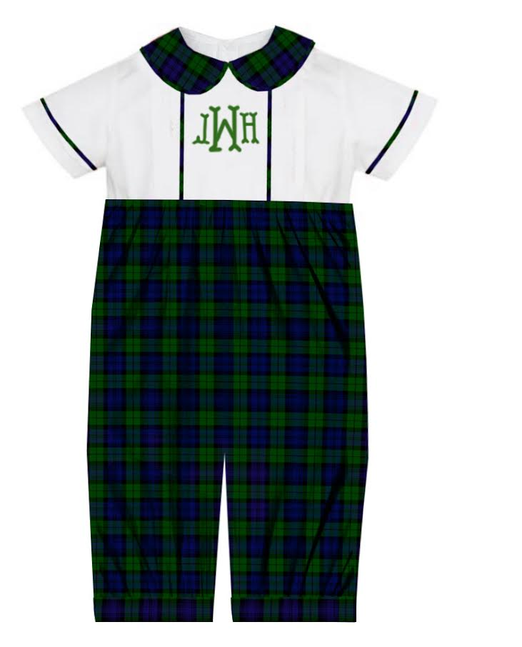 2020 Green Christmas Plaid Boy Romper