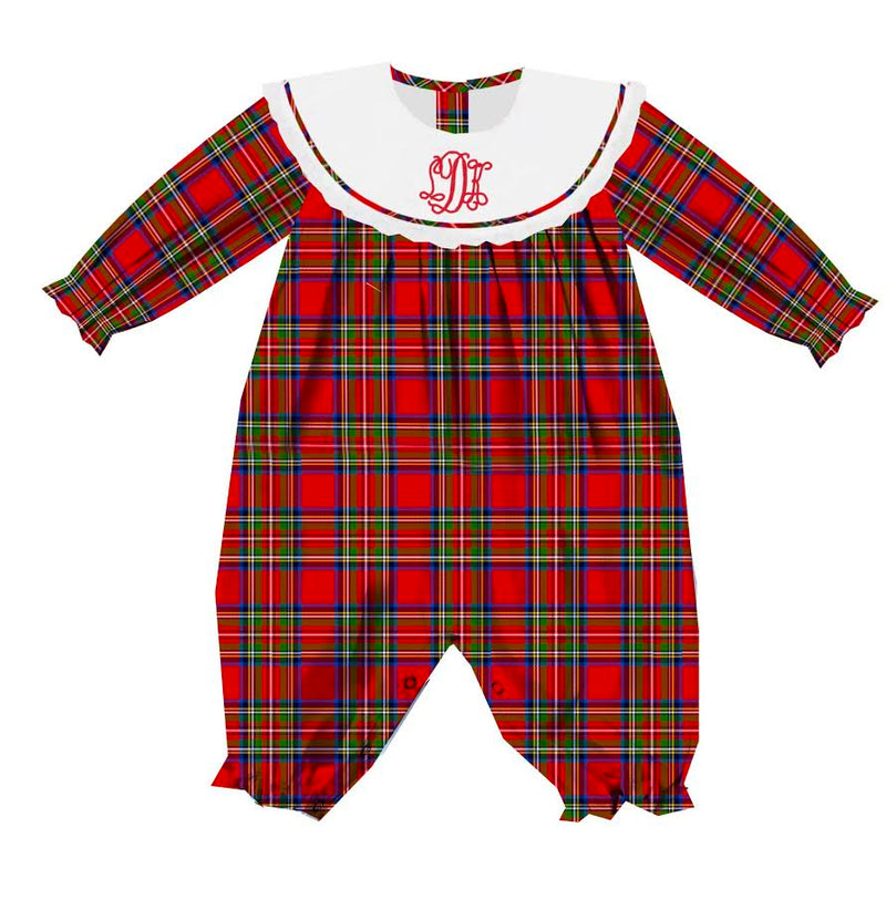2020 Red Christmas Plaid Girl Romper