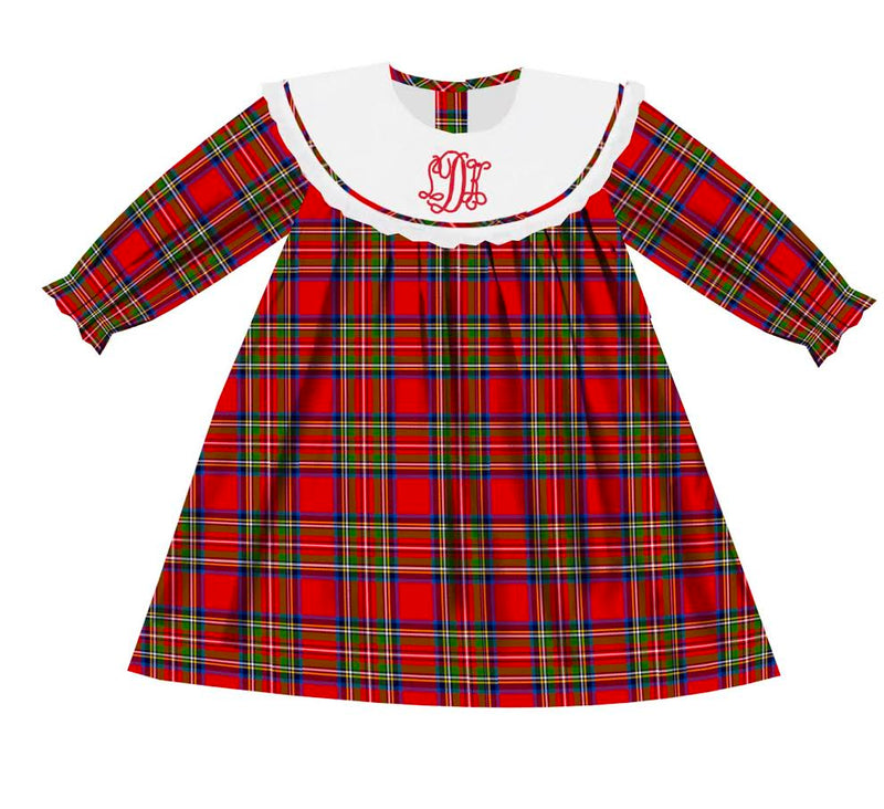 2020 Red Christmas Plaid Bib Dress