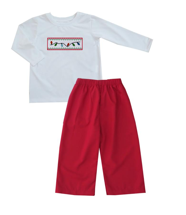 2020 Christmas Lights Boy Pant Set