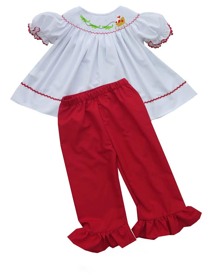 2020 Cajun Christmas Girl Pant Set