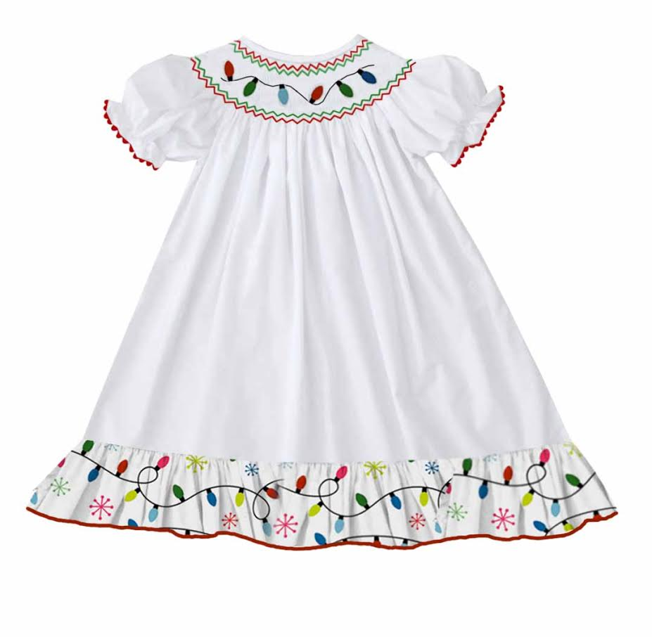 2020 Christmas Lights Bishop Dress