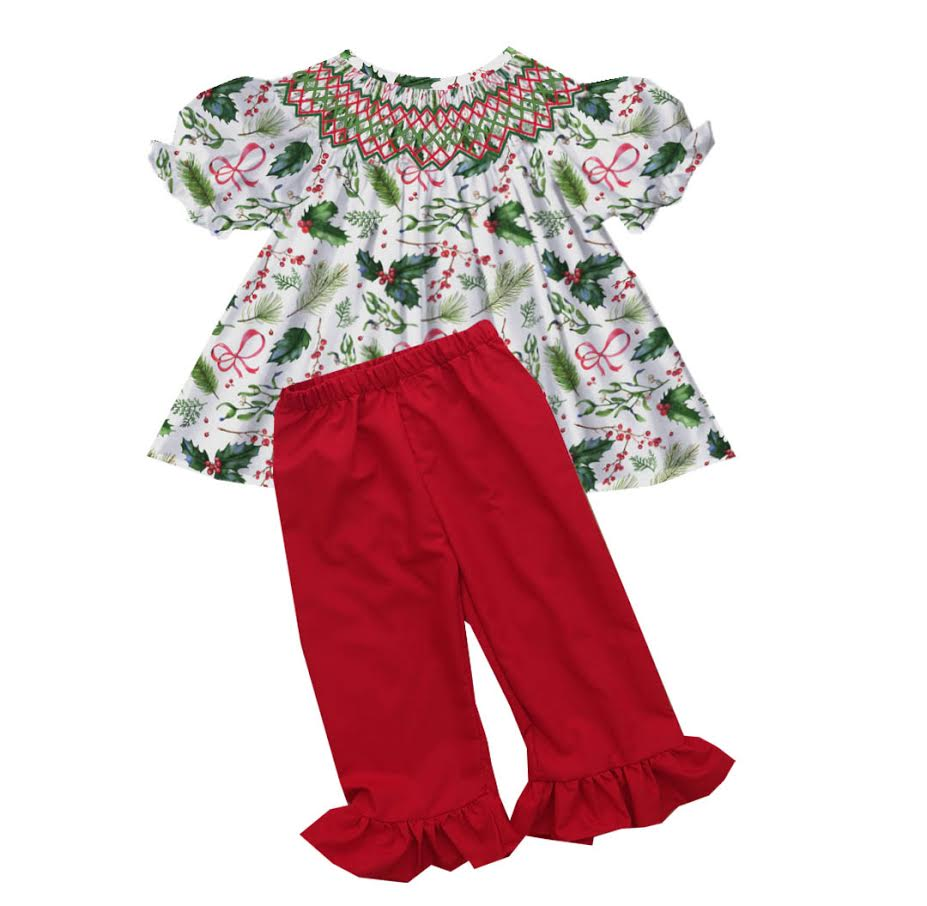 2020 Christmas Holly Pant Set