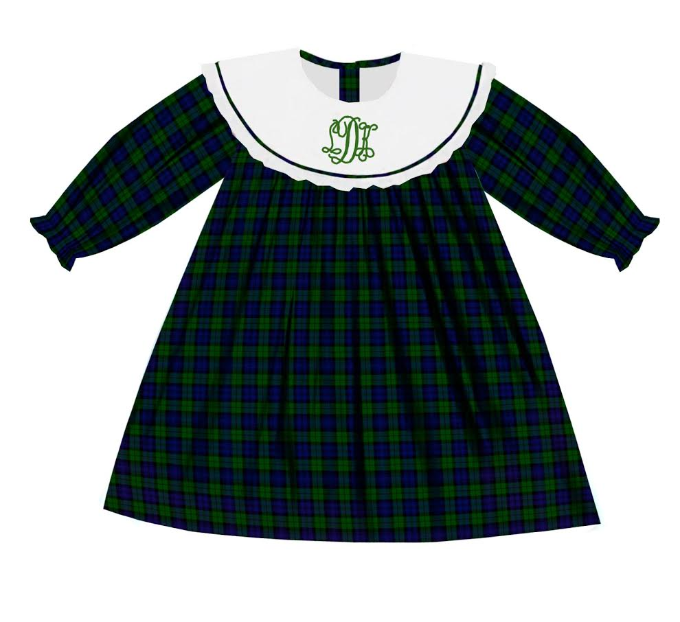 2020 Green Christmas Plaid Bib Dress