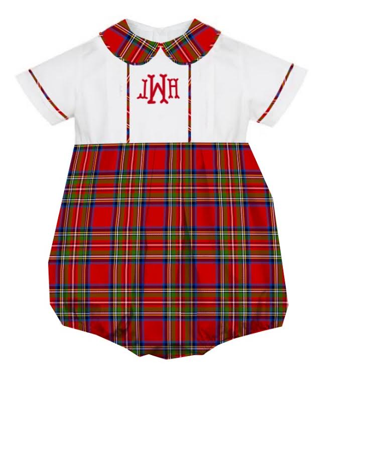 2020 Red Christmas Plaid Boy Bubble