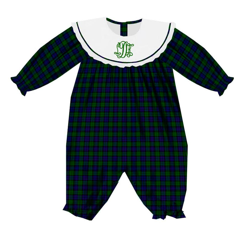 2020 Green Christmas Plaid Girl Romper