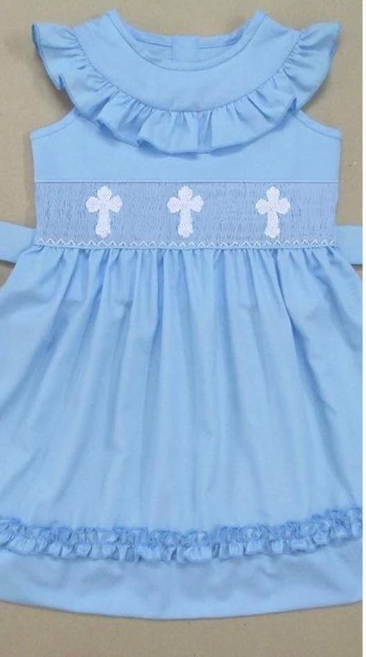 Blue Ruffle Hem with White Crosses Dress