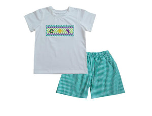 2021 White Mardi Gras Boy Tshirt Short Set