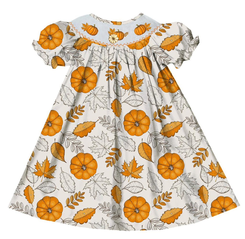 Pumpkin Leaf Bishop Dress