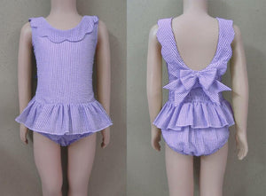Lavender Scalloped Seersucker 1 Piece Swim