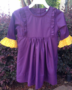 Purple with Yellow Dot Sleeves Dress