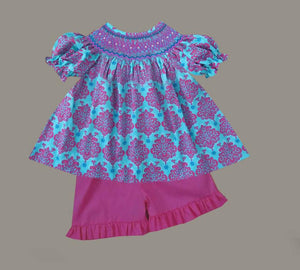 Bright Damask Girls Short Set