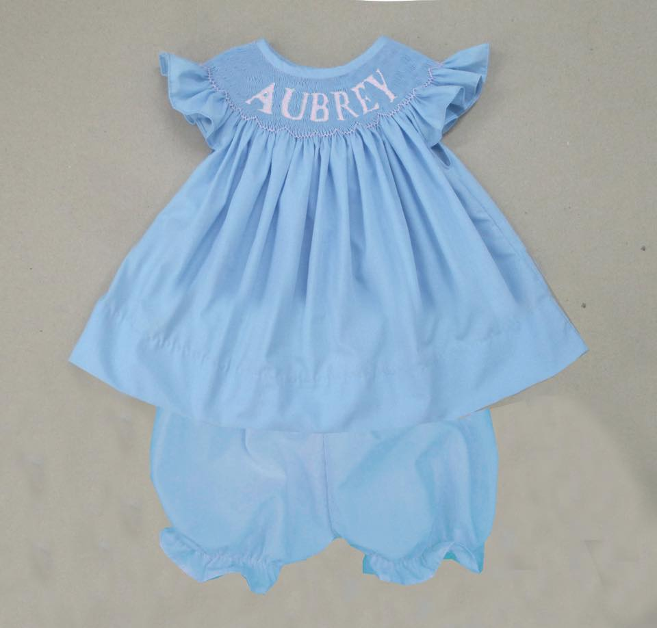 Personalized Blue Girls Bloomer/Short Set