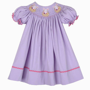 Lavender Easter Bunny Basket Bishop Dress