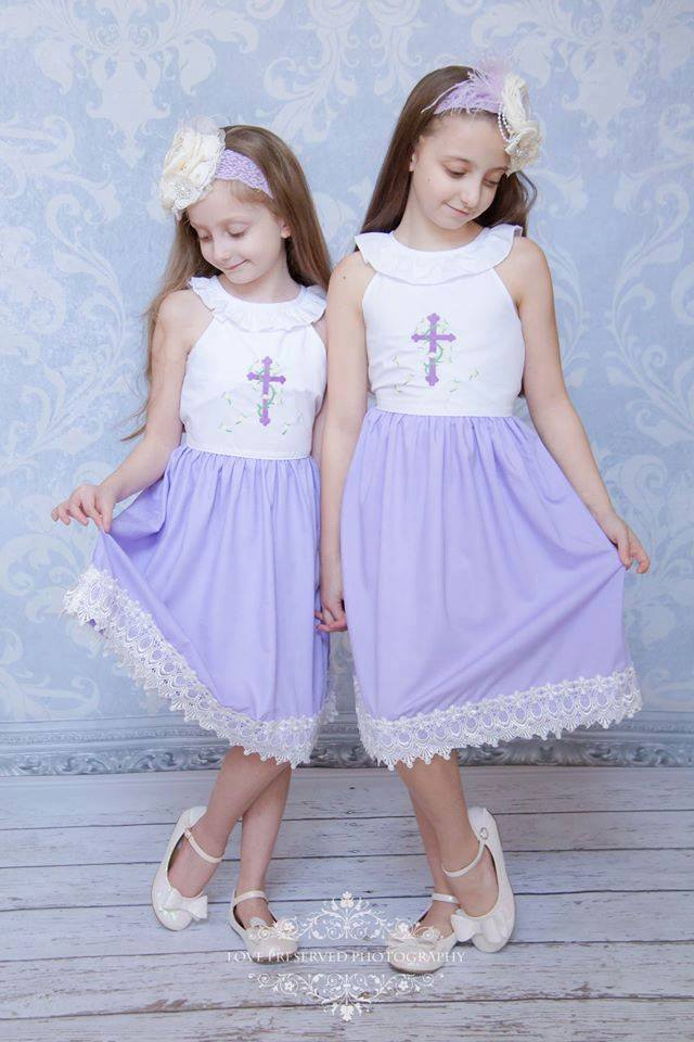 Lavender Bottom Cross Collar Dress