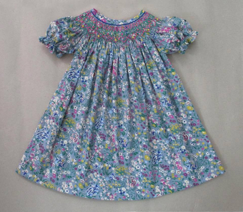 Multi Gray Floral Bishop Dress