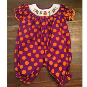 Purple and Orange Dot Trick or Treat Romper