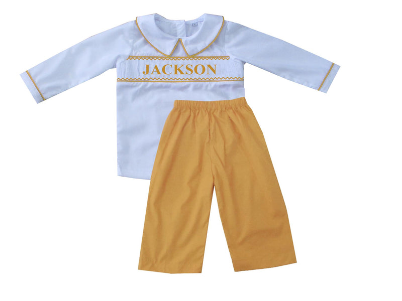 Personalized Mustard Boys Pants Set