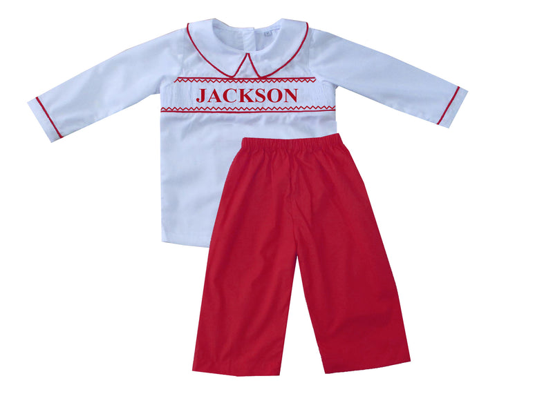 Personalized Red Boys Pants Set