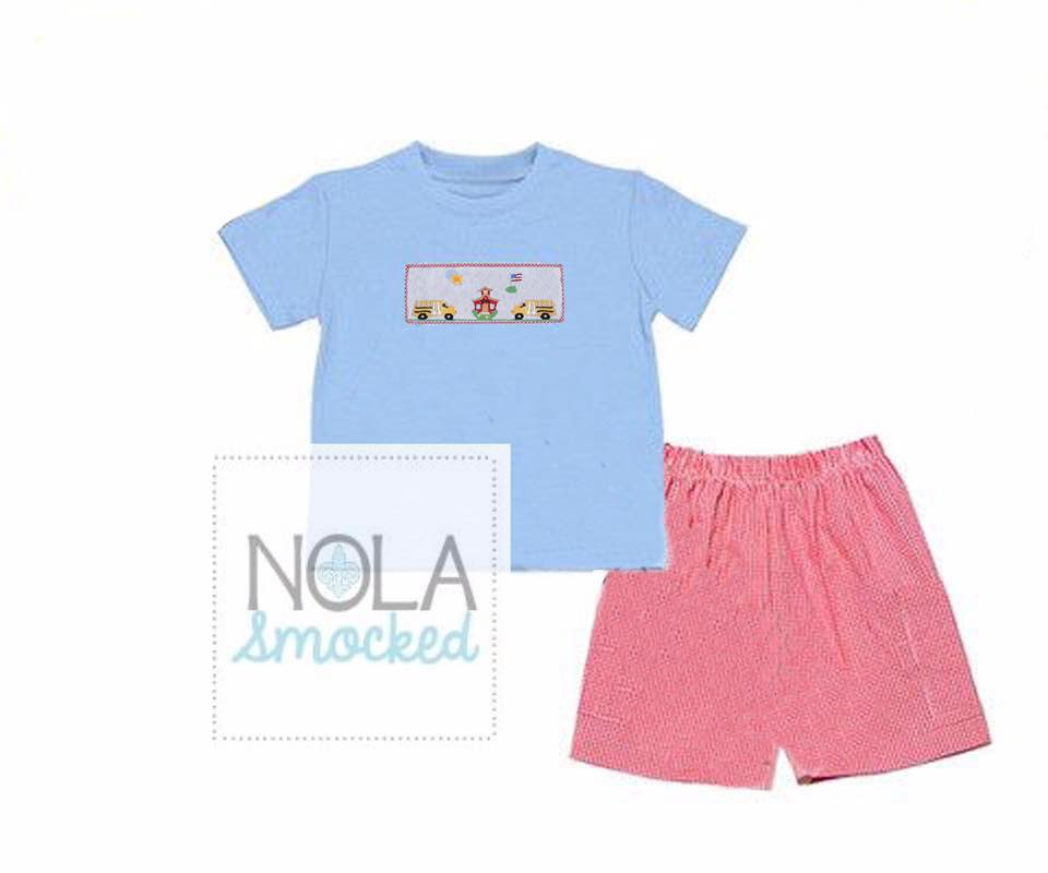 Blue DOt School Bus Boys SHort Set