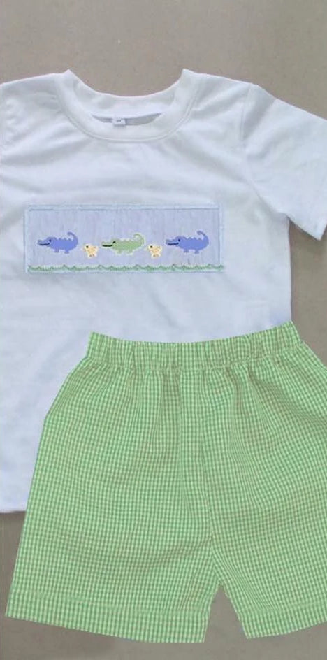 Green Gingham Alligator Boy Short Set