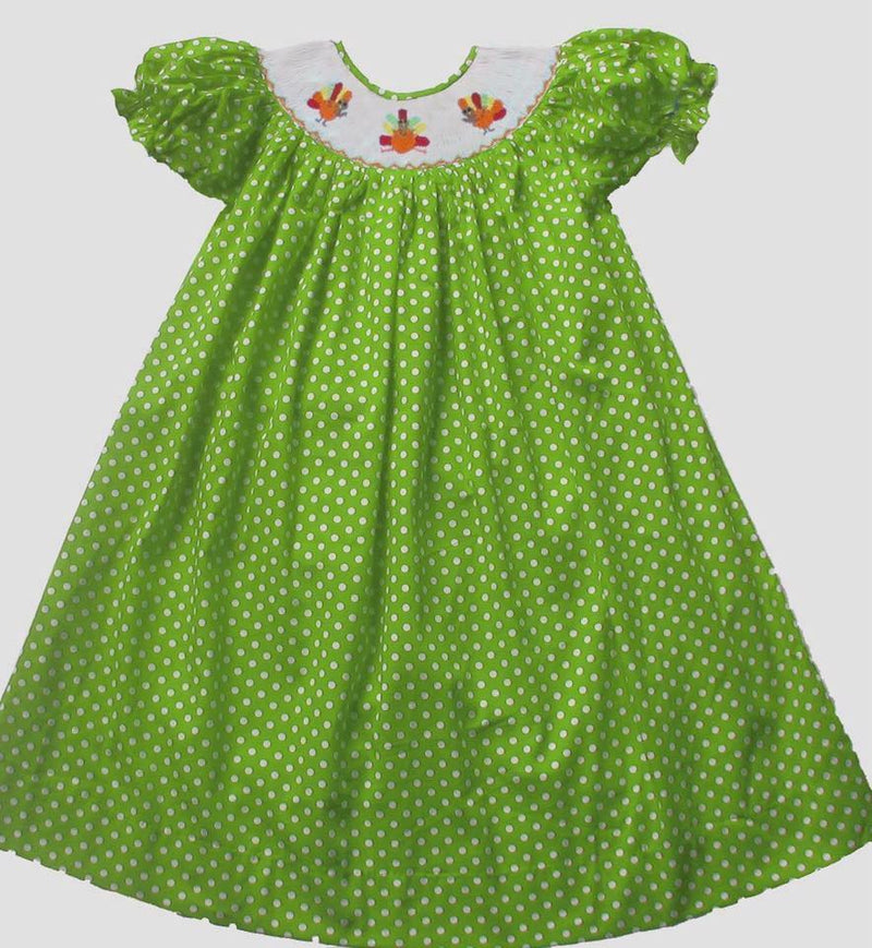 Lime Dot Turkey Bishop Dress