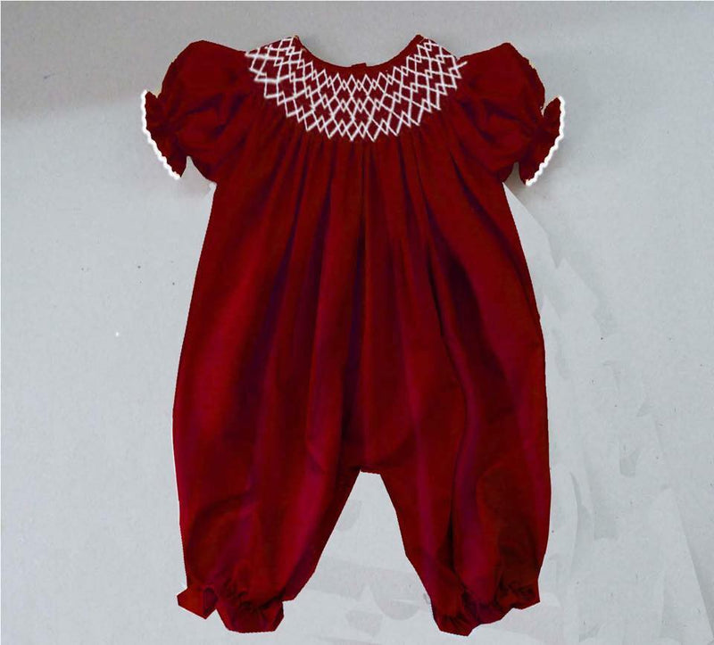 Solid Red Romper Geometric Smocking Romper
