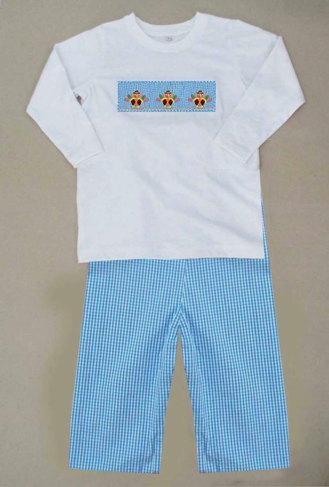 Aqua Gingham Turkey Boys Pants Set