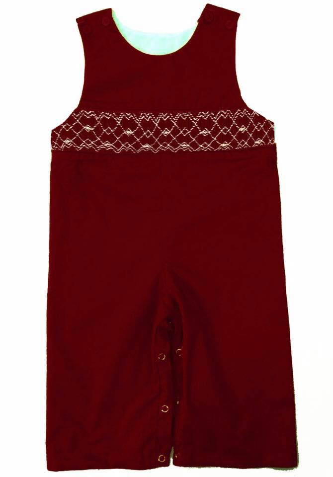 Solid Red Longall Geometric Smocking