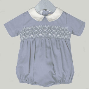 Solid Gray Boy Bubble Geometric Smocking