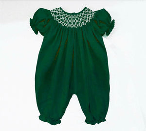 Solid Olive Green Double Rick Rack Romper