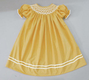 Solid Mustard Bishop Double Rick Rack Bishop Dress