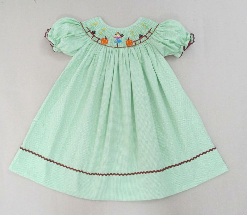 Green Gingham Scarecrow Bishop Dress