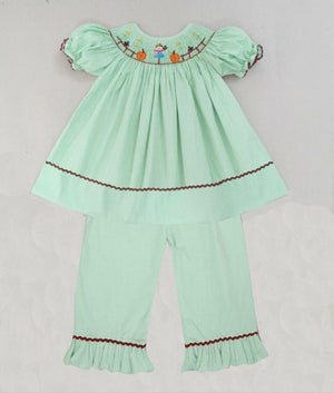 Green Gingham Scarecrow Girls Pants Set