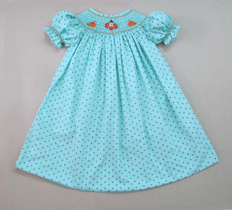 Aqua Brown Dot Pumpkin/Turkey Bishop Dress