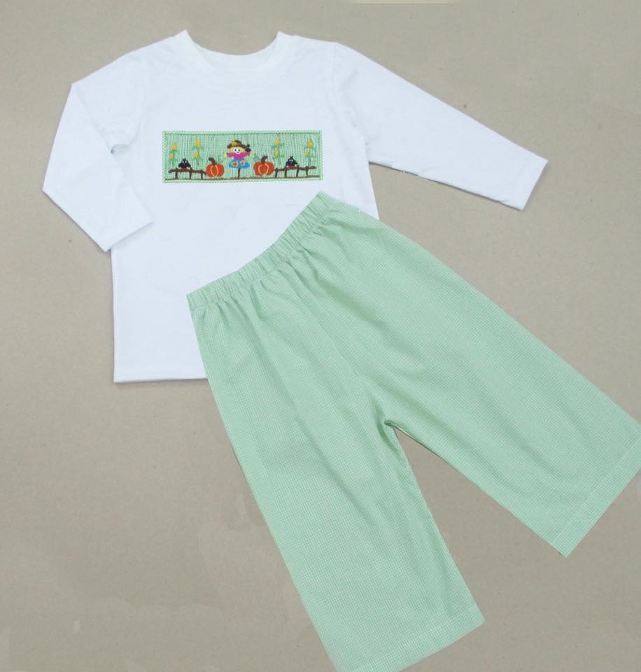 Green Gingham Scarecrow Boys Pants Set