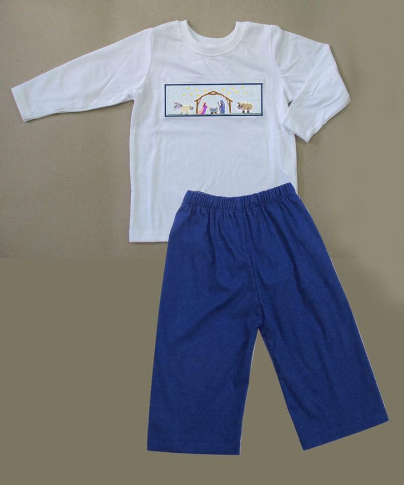 Navy Nativity Boys Pants Set