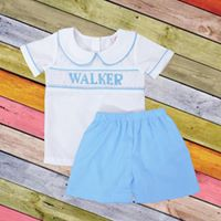 Personalized Blue Boys Short Set