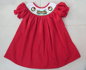 Solid Red Streetcar/Wreath Bishop Dress