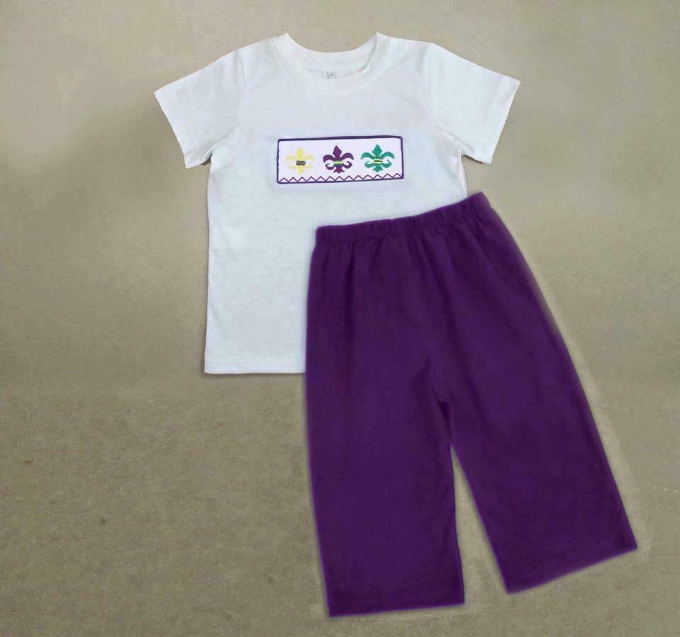 Purple Fleur De Lis Mardi Gras Boys Pants Set