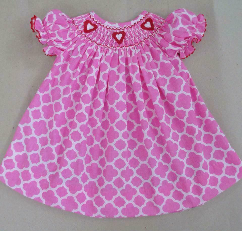 Pink and White Quatrefoil Bishop Dress