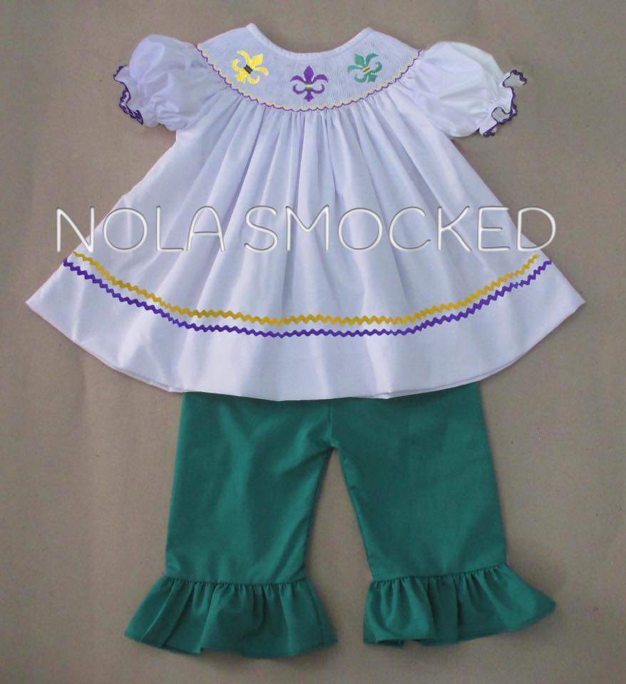 Green Fleur De Lis Mardi Gras Girls Pants Set