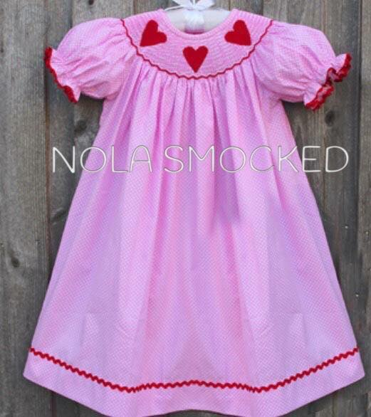 Red Heart Pink Dot Bishop Dress