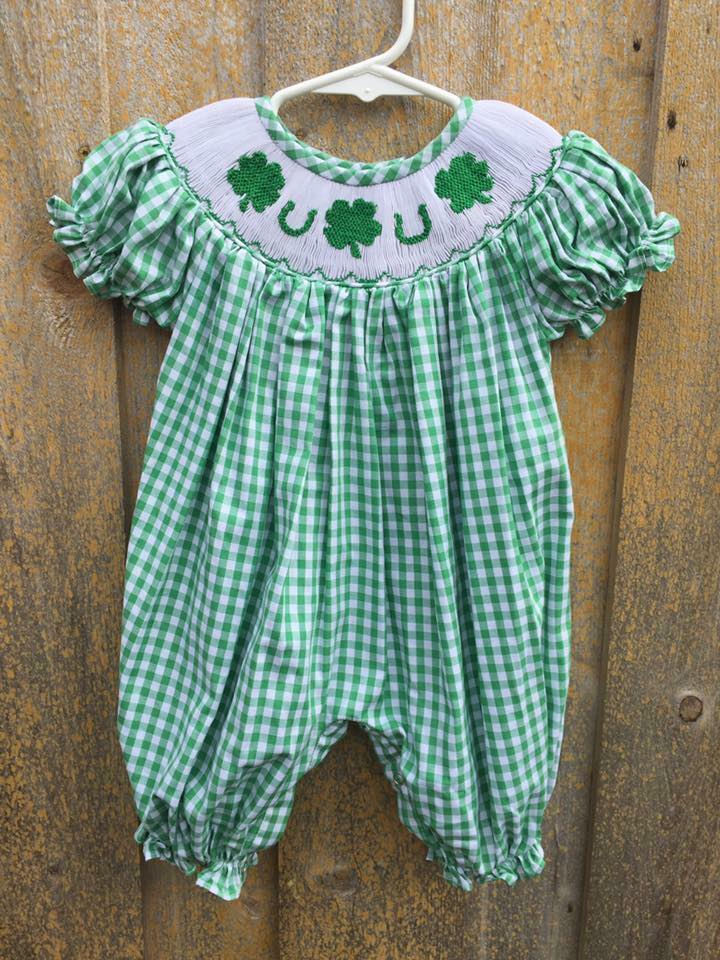 Green Gingham St. Patrick's Day Romper