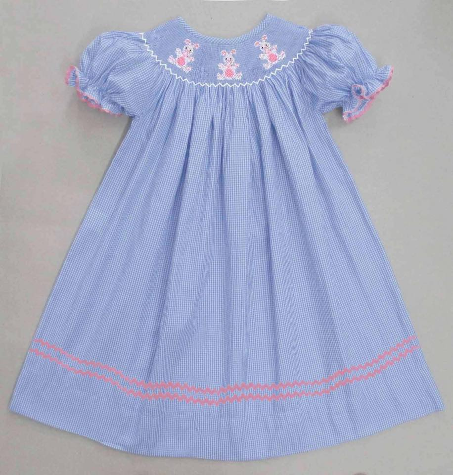 Light Blue Bunny Gingham Bunny Bishop Dress