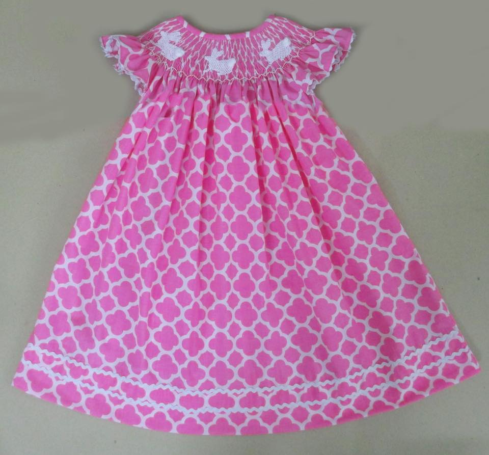 Pink Quatrefoil Bunny Bishop Dress