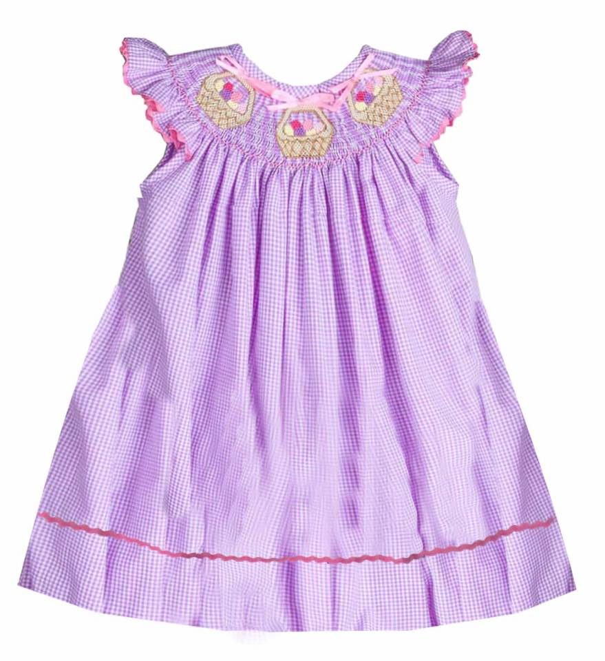 Lavender Easter Egg Basket Bishop Dress
