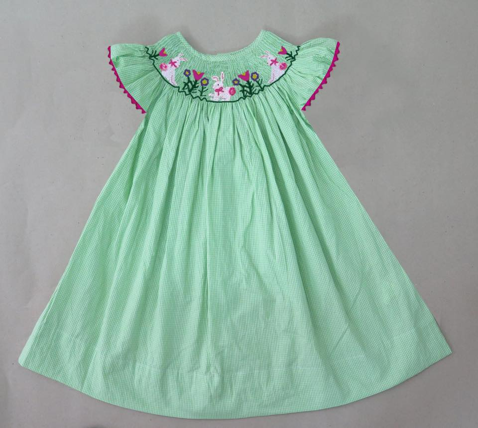 Green Gingham Easter Bunny Flower Bishop Dress